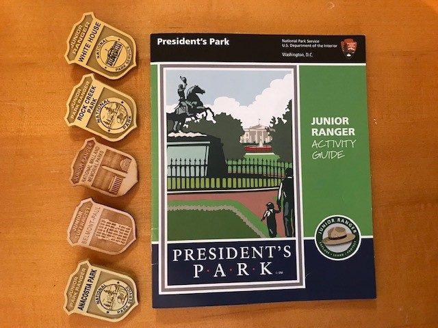 ワシントンDC及び近郊でもらったジュニア・レンジャー・バッジとホワイト・ハウスの課題ノート