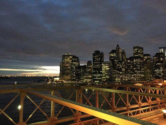 NYへ必ず戻ってくることを決断した瞬間に、ブルックリン・ブリッジから見たマンハッタンの夜景。