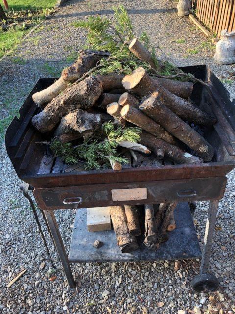 トスカーナ風バーベキュー。オリーブの木とローズマリーの枝で肉を焼く
