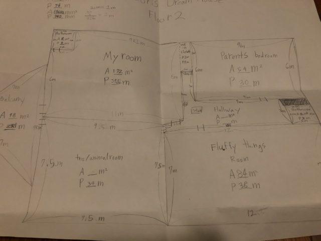 娘が描いたドリームハウスの設計図(2階)