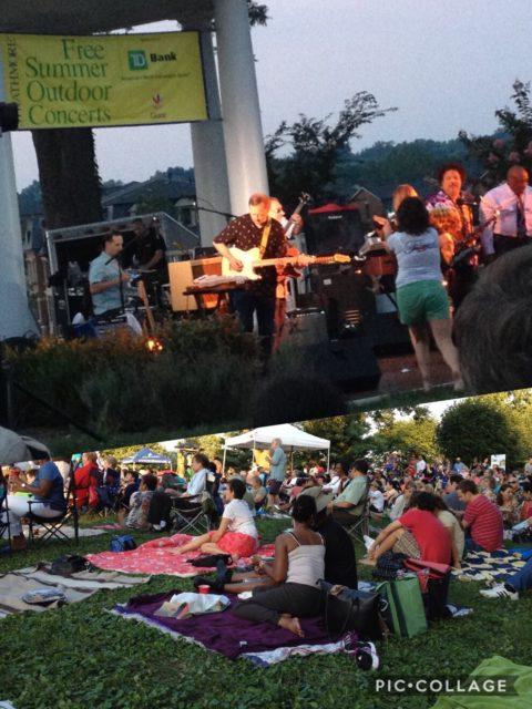 ストラスモアの屋外広場では夏の間、無料のコンサートが毎週開かれる