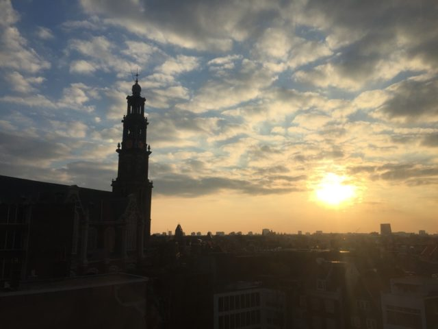 Sunrise in historical Amsterdam
