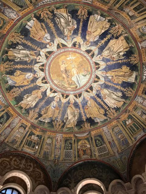 ラヴェンナ「ネオニアーノ礼拝堂」の天井モザイク画