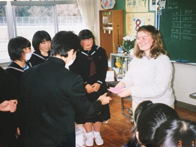 With students at Kamikuishiki Chugakko, spring 2002