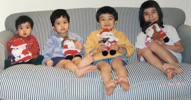1997年の年賀状に印刷した子供たちの写真