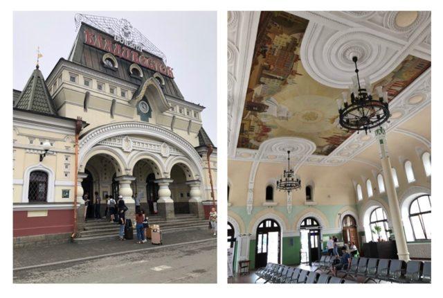 ウラジオストク駅の正面(左)と駅2階の待合室 (右)。天井の絵はモスクワと駅ができた当時のウラジオストクの町並み。