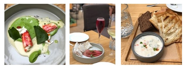 Old Fashioned Gastrobarのタラバ蟹とグリーンピーのストラッチャテッラチーズソース、生鴨ハム、スープと黒パン