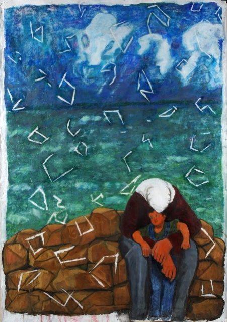 イスラエルがパレスチナ人の命の価値を認めないことへの悔しさを描いたアクリル画「聖なる命」