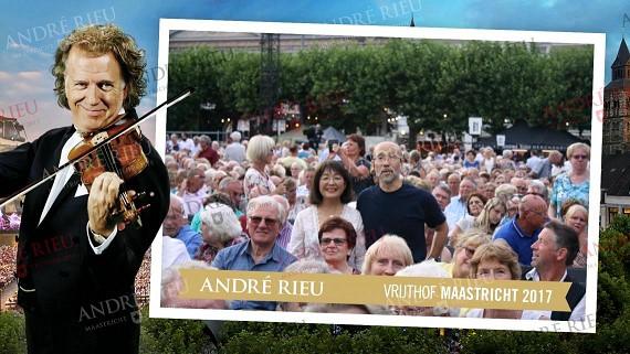 オランダのマーストリヒト屋外コンサート会場で(2017年7月)。中央にいるのが筆者と夫