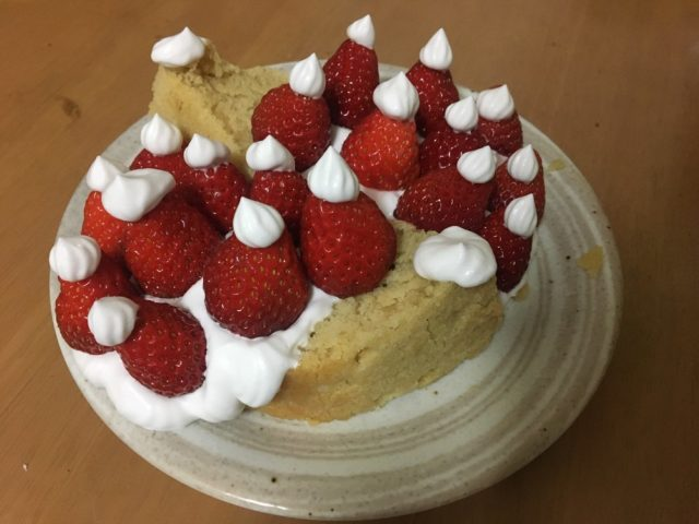 A strawberry shortcake made by the author for a co-worker's birthday