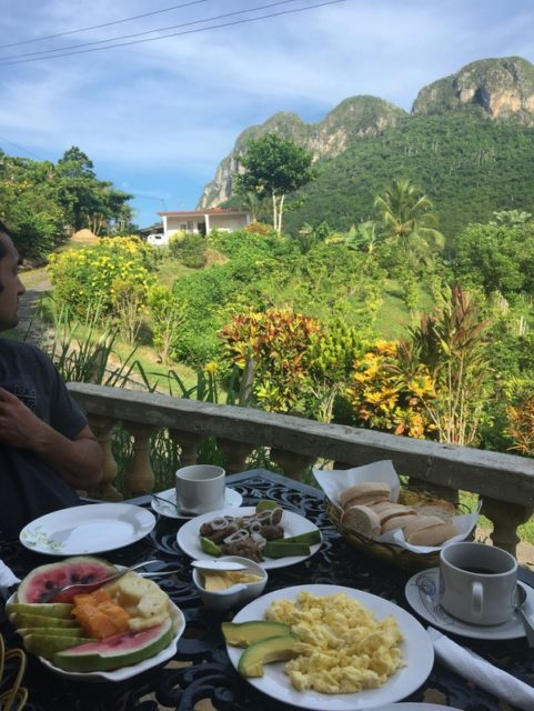 View during breakfast at out Casa Particular in Vinales Valley