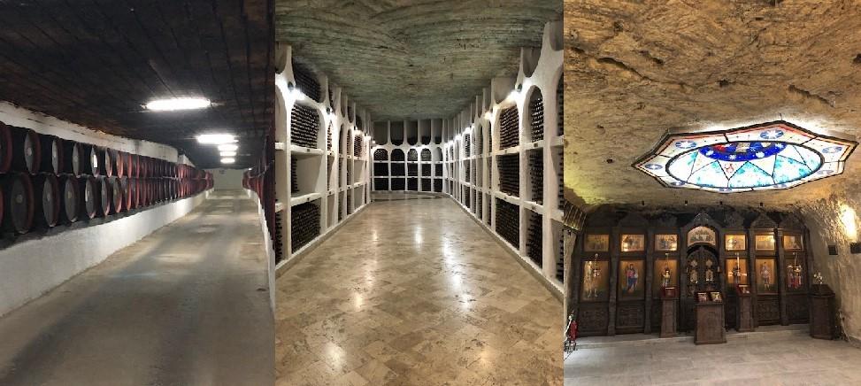 地下貯蔵ワイン樽(左)、地下貯蔵ワイン瓶(中)、クリコヴァ地下教会(右)