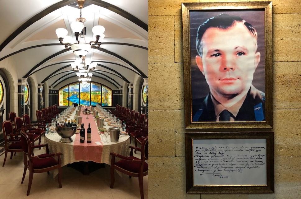 ワイン・テイスティング・ルーム(左)とその前に飾られたロシア人宇宙飛行士ユーリ・ガガーリン氏の肖像画
