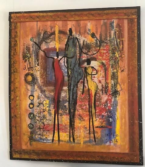 MAMA AFRICAのギャラリーに展示されたアイシャさんの作品