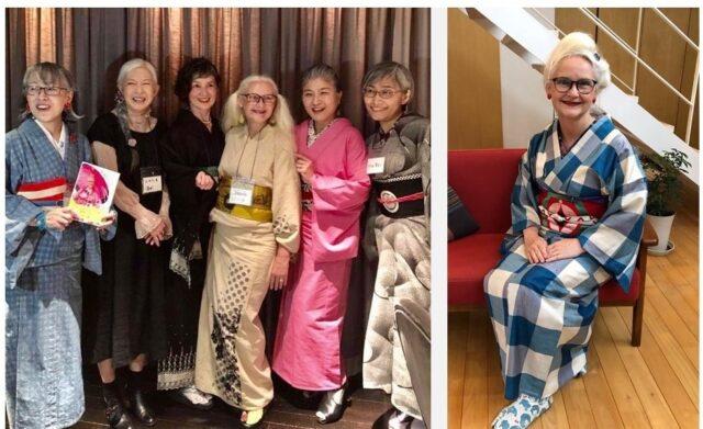 「グレイヘアの会」の集まり(左)。シーラさんは右から3人目。皆さん、ゆったりと着こなしてます。ピアスや足元、襟元、コーディネーションの色に注目。一番左の方の帯締めは普通の洋装用ベルト。日本の古典柄の一つである格子を赤い帯とピアス、足袋ソックスでポップに着こなしたシーラさん(右)